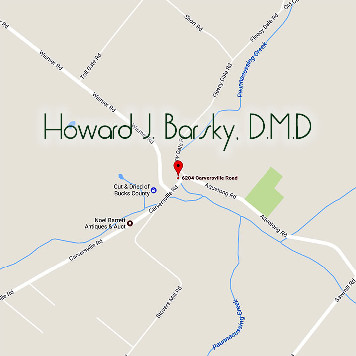 Map and Directions to Howard J. Barsky's Dental Office in Carversville, PA
